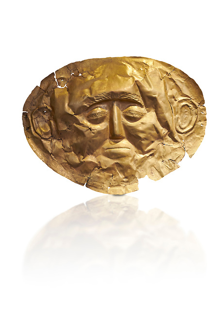 Mycenaean gold death mask, Grave Cicle A, Mycenae, Greece. National Archaeological Museum of Athens.  White background.<br /> <br /> This death mask is typical of the other Mycenaean gold death masks fround in Grave V. made from a sigle sheet of gold the shape of the face would have been hammered ot against wood. two holes either side of the gold mask allowed it to be held over the dead mans face. As weapons were found in the graves of Grave Circle A at Mycenae, those buried here wer warriors and maybe kings as the grave goods buried with them were of great value. 16th century BC