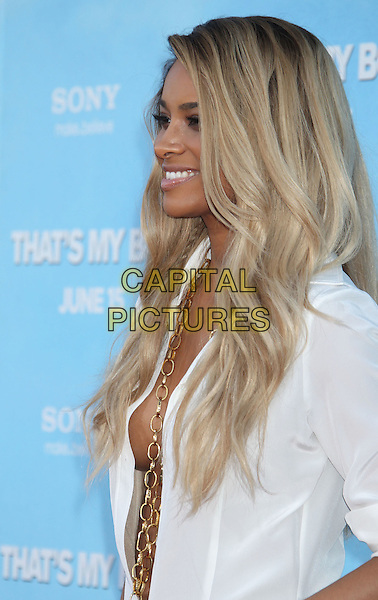 "Ciara (Ciara Princess Harris).""That's My Boy"" Los Angeles Premiere held at the Regency Village Theatre, Westwood, California, USA..June 4th, 2012.half length white shirt unbuttoned gold necklaces cleavage side profile .CAP/ADM/RE.©Russ Elliot/AdMedia/Capital Pictures."