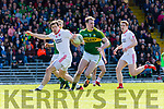 Mark Griffin Kerry breaks from Tyrone Sean Cavanagh and Peter Harte during their National League clash in Fitzgerald Stadium on Sunday