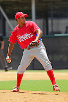 Juary Gomez (57) Pitcher for the GCL Phillies delivers a pitch during a game on June 26, 2010 against the GCL Yankees at the Yankees Training Complex in Tampa, The GCL Phillies are the Gulf Coast Rookie League affiliate of the Philadelphia Phillies. Photo By Mark LoMoglio/Four Seam Images