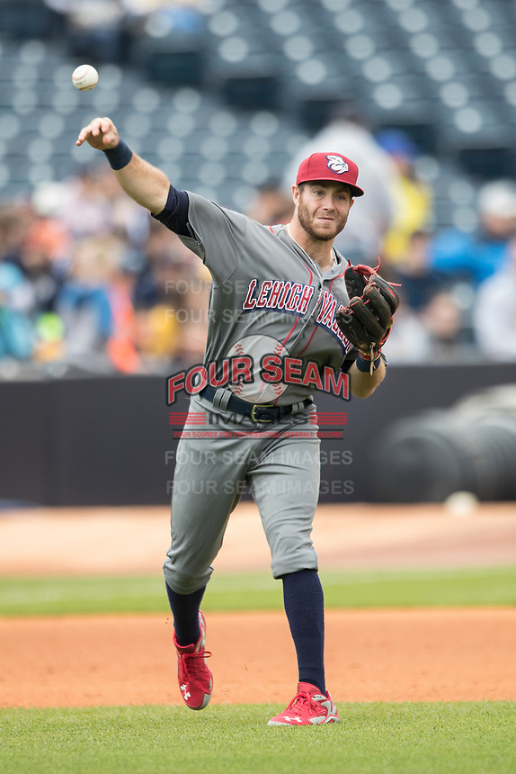 Lehigh Valley IronPigs third baseman Taylor Featherston (6) makes a throw to first base against the Toledo Mud Hens during the International League baseball game on April 30, 2017 at Fifth Third Field in Toledo, Ohio. Toledo defeated Lehigh Valley 6-4. (Andrew Woolley/Four Seam Images)