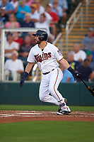 Minnesota Twins third baseman Trevor Plouffe (24) at bat during a Spring Training game against the Boston Red Sox on March 16, 2016 at Hammond Stadium in Fort Myers, Florida.  Minnesota defeated Boston 9-4.  (Mike Janes/Four Seam Images)