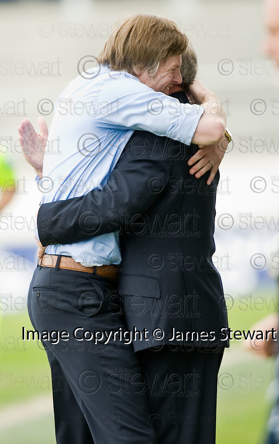 10/04/2010   Copyright  Pic : James Stewart.sct_jsp20_falkirk_v_st_mirren  .::  FALKIRK MANAGER STEVEN PRESSLEY AND ASSISTANT ALEX SMITH AT THE END OF THE GAME ::  .James Stewart Photography 19 Carronlea Drive, Falkirk. FK2 8DN      Vat Reg No. 607 6932 25.Telephone      : +44 (0)1324 570291 .Mobile              : +44 (0)7721 416997.E-mail  :  jim@jspa.co.uk.If you require further information then contact Jim Stewart on any of the numbers above.........