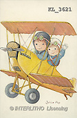 Interlitho, CHILDREN, nostalgic, paintings, 2 kids, plane(KL3621,#K#) Kinder, niños, nostalgisch, nostálgico, illustrations, pinturas
