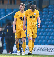 Preston North End's Paul Huntington, right, and Tom Clarke react after the final whistle<br /> <br /> Photographer Alex Dodd/CameraSport<br /> <br /> The EFL Sky Bet Championship - Leeds United v Preston North End - Saturday 8th April 2017 - Elland Road - Leeds<br /> <br /> World Copyright &copy; 2017 CameraSport. All rights reserved. 43 Linden Ave. Countesthorpe. Leicester. England. LE8 5PG - Tel: +44 (0) 116 277 4147 - admin@camerasport.com - www.camerasport.com