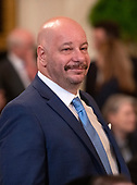 Comedian Jeff Ross looks on prior to United States President Donald J. Trump making remarks the 2019 Prison Reform Summit and First Step Act Celebration in the East Room of the White House in Washington, DC on Monday, April 1, 2019.<br /> Credit: Ron Sachs / CNP