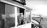 Former Taoiseach Charles J Haughey pictured on a Fungi boat in 1991.<br /> Picture by Don MacMonagle