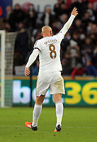 Jonjo Shelvey of Swansea celebrates his goal during the Barclays Premier League match between Swansea City and Bournemouth at the Liberty Stadium, Swansea on November 21 2015