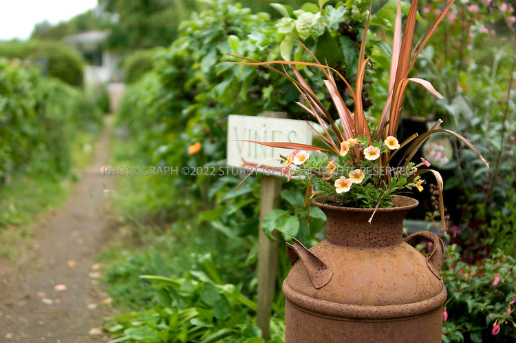 6/12/2007--Clinton, WA, USA..Mary Fisher's garden and nursery on Whidbey Island. It is an English-style garden with hedgerows and espaliered apple trees (shown here along path), and rare plants.  ...Photograph ©2007 Stuart Isett.All rights reserved