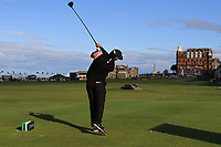 Rafa Cabrera Bello (ESP) on the 18th tee during Round 3 of the Alfred Dunhill Links Championship 2019 at St. Andrews Golf CLub, Fife, Scotland. 28/09/2019.<br /> Picture Thos Caffrey / Golffile.ie<br /> <br /> All photo usage must carry mandatory copyright credit (© Golffile | Thos Caffrey)