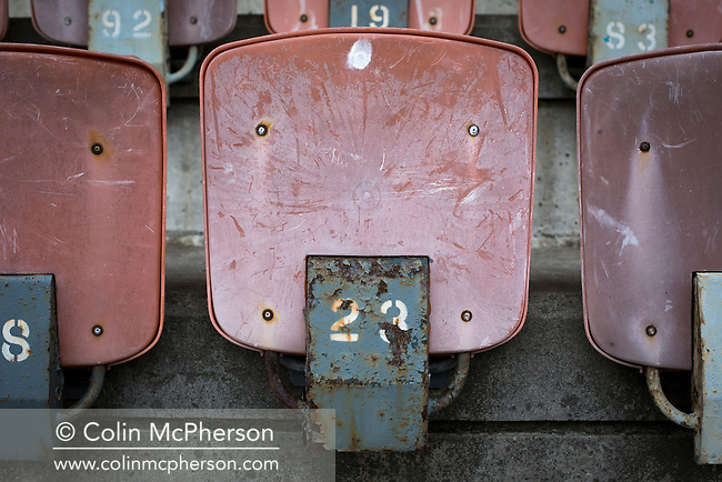 An interior view ground showing the seats in the grandstand at Meadowbank Stadium in Edinburgh, before Edinburgh City played host to Spartans in a Lowland League fixture. The host won the match 1-0 with a late goal by Ousman See, despite playing for the last 30 minutes with 10 men after Ross Allum was sent off. The wind kept the reigning champions side clear at the top of the league.