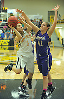 NWA Democrat-Gazette/MICHAEL WOODS &bull; @NWAMICHAELW<br /> Prairie Grove's Parker Lopez (3) tries to drive past Berryville defender Hannah Morrell (41) during the girls  4A-1 District Tournament in Prairie Grove Saturday February 20, 2016.  Visit nwadg.com/photos to see more photographs from the game.