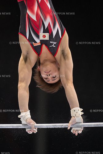Ryohei Kato (JPN), OCTOBER 1, 2013 - Artistic Gymnastics : Ryohei Kato of Japan competes on the horizontal bar during a qualification session at the 2013 World Artistic Gymnastics Championships at Antwerps Sportpaleis (Antwerp's Sport Palace), Antwerp, Belgium. (Photo by Enrico Calderoni/AFLO SPORT) [0391]