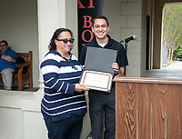 "Oswaldo Lopez Jr., Administrative Coordinator for Upward Bound and Stephanie Dueñas.<br /> Upward Bound hosts their annual ""End of the Year"" celebration with participants and their families on May 12, 2018 in the courtyard of Booth Hall. Jimmy Gomez, U.S. Representative for California's 34th congressional district, was the featured speaker at the event.<br /> Upward Bound was established at Occidental College in 1966 and has since served over 2000 first generation, low income students in the Los Angeles region.<br /> (Photo by Marc Campos, Occidental College Photographer)"