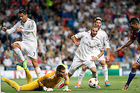 Cristiano Ronaldo, Benzema, Sergio Ramos of Real Madrid and Tomas Vaclik of FC Basel 1893 during the Champions League group B soccer match between Real Madrid and FC Basel 1893 at Santiago Bernabeu Stadium in Madrid, Spain. September 16, 2014. (ALTERPHOTOS/Caro Marin) /NortePhoto.com