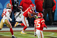 2nd February 2020, Miami Gardens, Florida, USA;   Kansas City Chiefs Tight End Travis Kelce (87) makes a touchdown catch during the second half of Super Bowl LIV on February 2, 2020 at Hard Rock Stadium in Miami Gardens