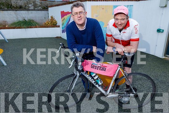 Sean Scally of Enable Ireland Tralee office with Tommy Sheehy at the centre on Friday, launching Tommy's upcoming series of 8 hour spinathons fundraiser for the centre.