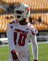 Louisville quarterback Dominque Brown. The Pitt Panthers defeated the Louisville Cardinals 20-3 at Heinz Field, Pittsburgh Pennsylvania on October 30, 2010.