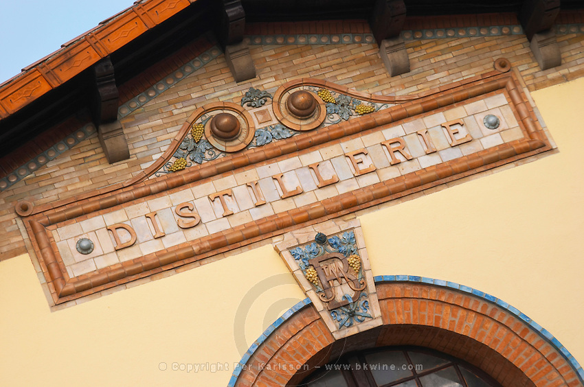 Ceramic sign saying Distillerie at the old distillery. Town of Limoux. Limoux. Languedoc. France. Europe.