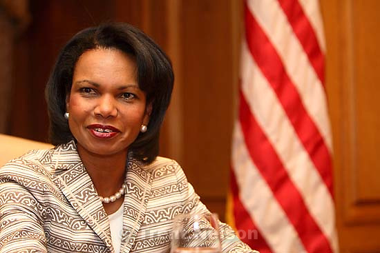 Secretary of State Condoleezza Rice speaks during an interview at Salt Lake City's Grand America Hotel Tuesday morning.; 8.29.2006<br />
