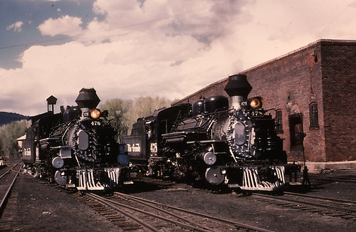 D&amp;RGW #476 &amp; #478 idling in Chama yard,  Both engines have ersatz diamond stacks.<br /> D&amp;RGW  Chama, NM