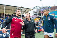 Picture by Allan McKenzie/SWpix.com - 13/04/2018 - Rugby League - Betfred Super League - Leeds Rhinos v Wigan Warriors - Headingley Carnegie Stadium, Leeds, England - Referee Ben Thaler indicates the way of play with Sean O'Loughln and Kallum Watkins at the coin toss.