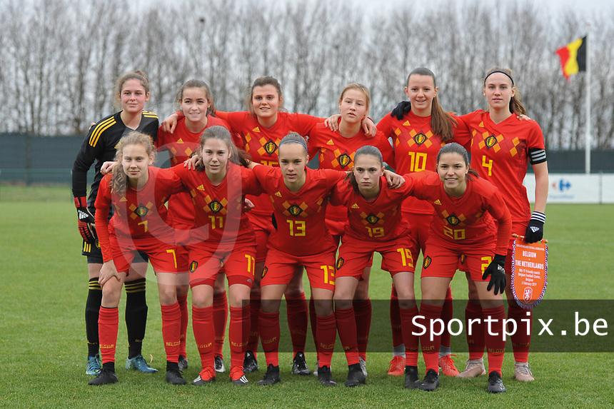 20190206 - TUBIZE , BELGIUM : Blelgian team with Luna Vanzeir (20)   Jill Janssens (19)   Tine Lemmens (15)   Sterre Gielen (14)   Marith De Bondt (13)   Sien Vandersanden (11)   Hannah Eurlings (10)   Jarne Teulings (7)   Emilie Claerbout (3)   Femke Schamp (12)   Lra Cordier (4)  pictured during the friendly female soccer match between Women under 17 teams of  Belgium and The Netherlands , in Tubize , Belgium . Wednesday 6th February 2019 . PHOTO SPORTPIX.BE DIRK VUYLSTEKE