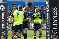 Leinster's Sean Cronin celebrates scoring his sides first try with team-mate  Joey Carbery<br /> <br /> Photographer Simon King/CameraSport<br /> <br /> Guinness PRO12 Round 19 - Ospreys v Leinster Rugby - Saturday 8th April 2017 - Liberty Stadium - Swansea<br /> <br /> World Copyright &copy; 2017 CameraSport. All rights reserved. 43 Linden Ave. Countesthorpe. Leicester. England. LE8 5PG - Tel: +44 (0) 116 277 4147 - admin@camerasport.com - www.camerasport.com