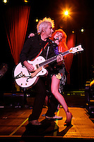 Cyndi Lauper (and her guitarist) perform at the True Colors Tour, held at Radio City Music Hall.