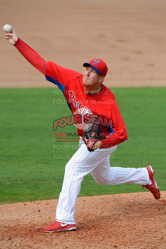 Philadelphia Phillies pitcher Zach Miner #60 during a Spring Training game against the New York Yankees at Bright House Field on February 26, 2013 in Clearwater, Florida.  Philadelphia defeated New York 4-3.  (Mike Janes/Four Seam Images)