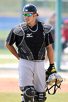 March 29, 2010:  Catcher Travis d'Arnaud of the Toronto Blue Jays organization during Spring Training at the Englebert Minor League Complex in Dunedin, FL.  Photo By Mike Janes/Four Seam Images