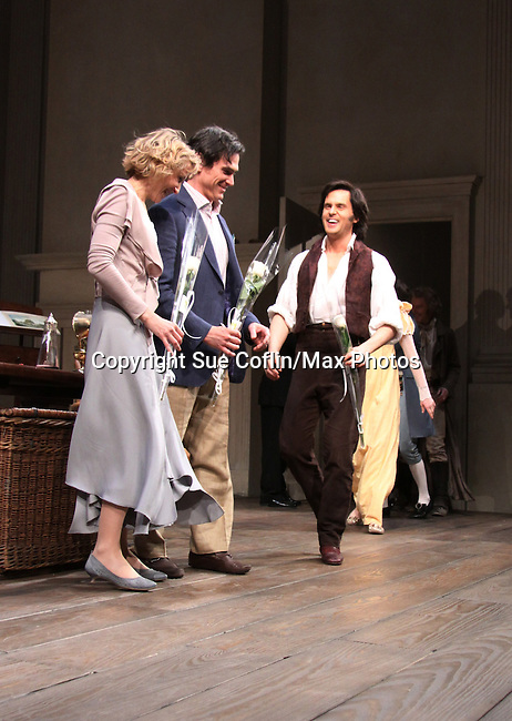 """cast - Curtain call of """"Arcadia"""" - Broadway Opening Night on March 17, 2011 at the Ethel Barrymore Theatre, New York City, New York.  Arrivals, Curtain Call and Party after at Gotham Hall. (Photo by Sue Coflin/Max Photos)"""