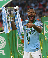 Manchester City's Raheem Sterling with the trophy<br /> <br /> Photographer Rob Newell/CameraSport<br /> <br /> The Carabao Cup Final - Chelsea v Manchester City - Sunday 24th February 2019 - Wembley Stadium - London<br />  <br /> World Copyright © 2018 CameraSport. All rights reserved. 43 Linden Ave. Countesthorpe. Leicester. England. LE8 5PG - Tel: +44 (0) 116 277 4147 - admin@camerasport.com - www.camerasport.com