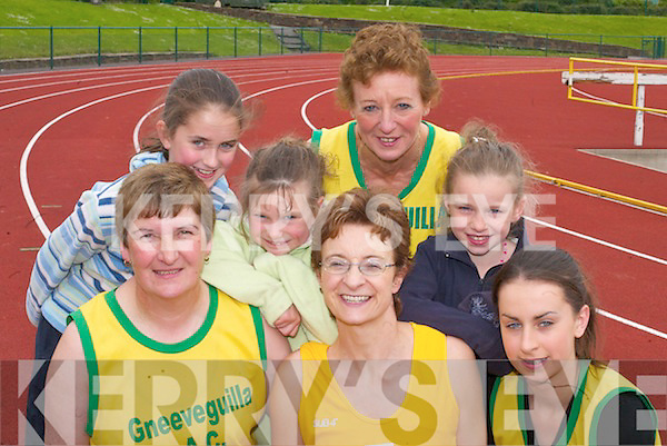 Gneeveguilla AC athletes and supporters at the County Senior, Junior and Masters Track and Field Championships in Castleisland on Sunday l-r front Joan OSullivan, Caroline Murphy, Breda Casey, back row Rita Casey, Martina OLeary, Marilyn OLeary, Katlyn OLeary