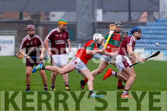 Causeway's Jason Diggin in possession against Crotta O'Neills in the Kerry u21 Hurling championship final on Saturday last.