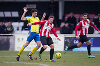 Double goalscorer George Purcell  of AFC Hornchurch gets in front of his man during AFC Hornchurch vs Haringey Borough, Bostik League Division 1 North Football at Hornchurch Stadium on 10th February 2018