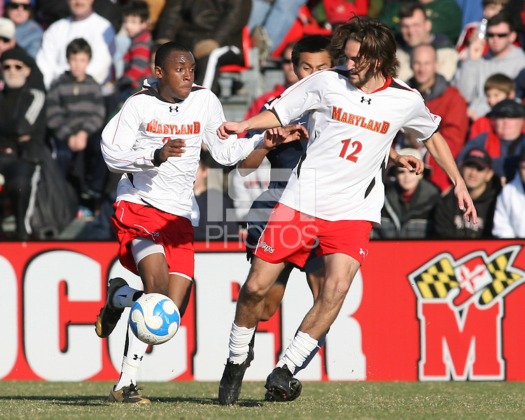 Rodney Wallace #22 and Drew Yates #12 of the University of Maryland during an NCAA championship round of sixteen soccer match against the University of California at Ludwig Field, on November 29, 2008 in College Park, Maryland. The match was won by Maryland 2-1