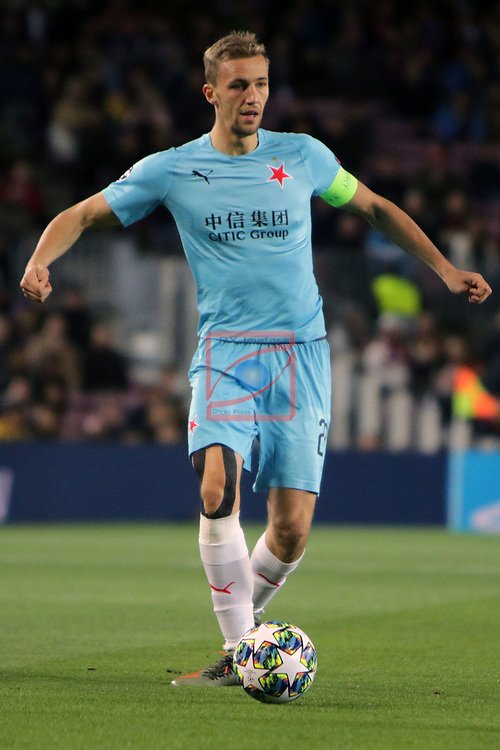 UEFA Champions League 2019/2020.<br /> Matchday 4.<br /> FC Barcelona vs SK Slavia Praha: 0-0.<br /> Tomas Soucek.