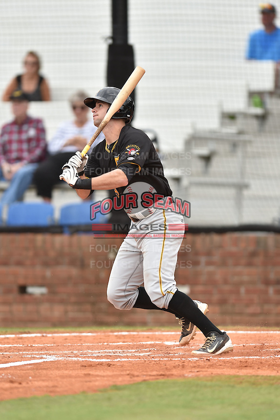 Bristol Pirates catcher Chris Harvey #39 swings at a pitch during a game against the Johnson City Cardinals at Howard Johnson Field July 20, 2014 in Johnson City, Tennessee. The Pirates defeated the Cardinals 4-3. (Tony Farlow/Four Seam Images)