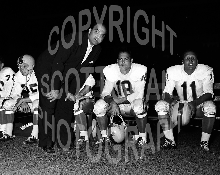 Lou Agase Toronto Argonauts head coach with Tobin Rote 1960. Copyright photograph Ted Grant