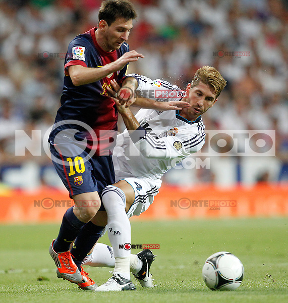 Real Madrid's Sergio Ramos and F.C. Barcelona's Lionel Messi during Spanish Supercup 2nd match on august 29 2012...Photo: Cesar Cebolla / ALFAQUI /NortePhoto.com<br /> <br /> **CREDITO*OBLIGATORIO** <br /> *No*Venta*A*Terceros*<br /> *No*Sale*So*third*<br /> *** No*Se*Permite*Hacer*Archivo**<br /> *No*Sale*So*third*