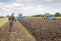 Ploughing and cultivationg pea land - Lincolnshire, July