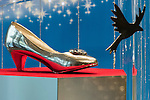 A platinum Cinderella high heel on display at the Ginza Tanaka jewelry store in Ginza, on November 19, 2015, Tokyo, Japan. This year's tree is decorated with Cinderella movie characters and includes a 3 carat diamond on Cinderella's high heel. The tree is 2.5m in height and weighs approximately 9kg and is valued at approximately 100,000,000 JPY (809,667.44 USD). (Photo by Rodrigo Reyes Marin/AFLO)