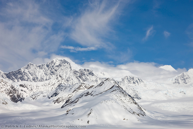 Clouds swirl over the ruth glacier and Alaska Range mountains, Denali National Park, Alaska.