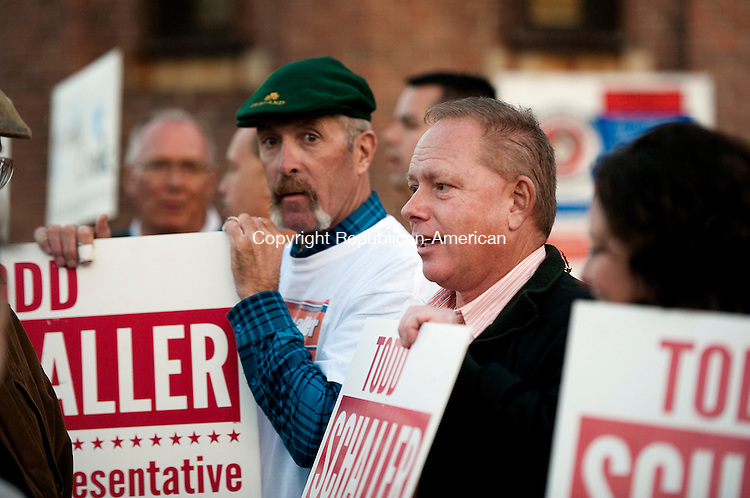 TORRINGTON,  CT-110816JS07- Todd Schaller, Republican candidate for the 65th District, talks with supporters outside the Torrington Armory during election day Tuesday a. <br /> Jim Shannon Republican American