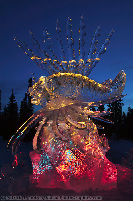 Friend or Foe detail, by Steve Brice, Joan Brice, Heather Brown, Tajana Raukar 1st place Multi Block, 2003 World Ice Art Championships, Fairbanks Alaska.