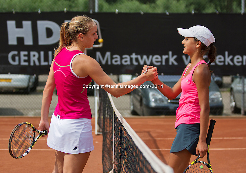 August 6, 2014, Netherlands, Rotterdam, TV Victoria, Tennis, National Junior Championships, NJK,  Merel Hoedt (NED) (r) congratulates Isolde de Jong with her victory<br /> Photo: Tennisimages/Henk Koster