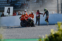 16th November 2019; Circuit Ricardo Tormo, Valencia, Spain; Valencia MotoGP, Qualifying Day; Aleix Espargaro (Aprilia)  crashes oout into the shale - Editorial Use