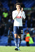 9th September 2017, Goodison Park, Liverpool, England; EPL Premier League Football, Everton versus Tottenham; Dele Alli of Tottenham applauds the visiting fans after the final whistle