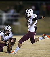 NWA Democrat-Gazette/BEN GOFF @NWABENGOFF<br /> Luis Rabadan kicks an extra point for Prescott in the first quarter vs Booneville Saturday, Dec. 1, 2018, during the class 3A state semifinal game at Bearcat Stadium in Booneville.